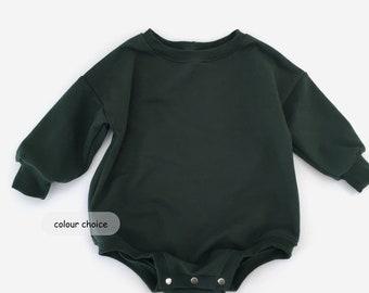 sweatshirt romper, oversized baby romper, baby sweater romper, baby playsuit, sweater romper, organic baby clothes  - NB -6