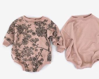 sweatshirt romper, oversized baby romper, baby sweater romper, baby girl romper, baby playsuit, floral romper  - NB -5
