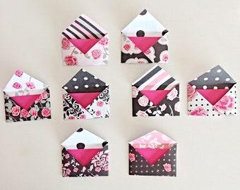 "Mini envelopes, hand folded, 3""x2"", mini invitations, girls party,"