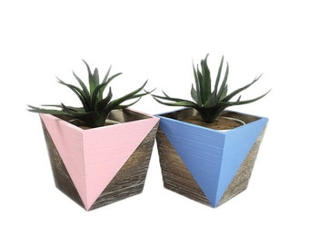 Wooden Pot | Planter Pot | Succulent Planter | Home Decor | Wooden Planter | Pastel | Planter & Pots | Geometric Pot | Planter Box