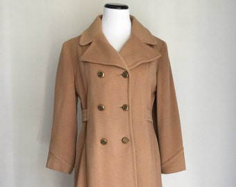 Vintage Wool Camel Double Breasted Coat Military Style