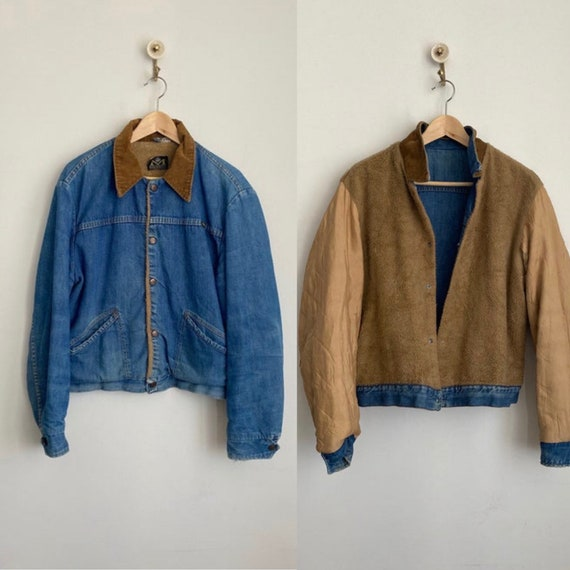 Vintage 70's Maverick Faux Fur Lined Faded Denim J