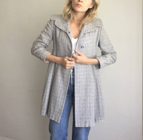 Vintage 40's Style Dress Coat Military Style