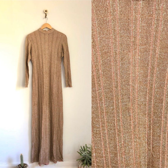 Vintage 70s Wenjilli-style Metallic Knit Dress Dis