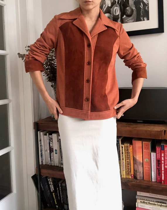 Vintage 70's Terracotta Suede and Polyester Cardig