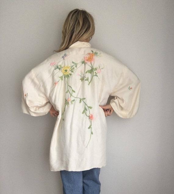 Beautiful 30s/40s Vintage Silk Kimono Robe, Hand E