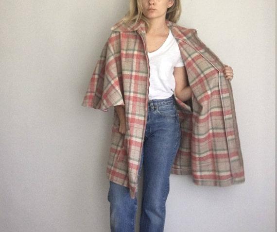 Vintage Capelet Pink Plaid Wool Jacket Coat Zip Fr