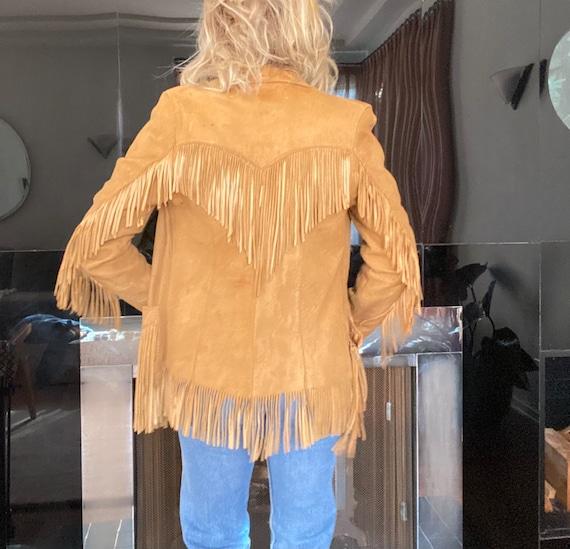 Vintage 50s Tan Leather Fringe Western Jacket Nubu