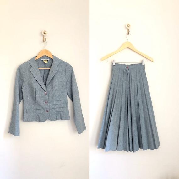 Vintage 70's Chorus Line Blue 40's Style Wool Skir