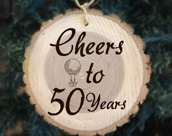 Cheers to 50 Years Engraved Wood Ornament