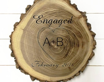 Personalized Wood Engaged Plaque with Initials and Month with year of engagement
