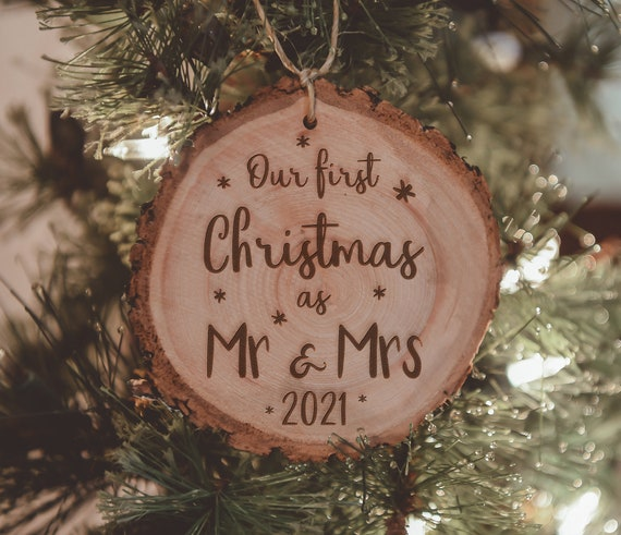 Our First Christmas 2021 Ornament Our First Christmas As Mr Mrs Wedding Ornaments Wood Etsy