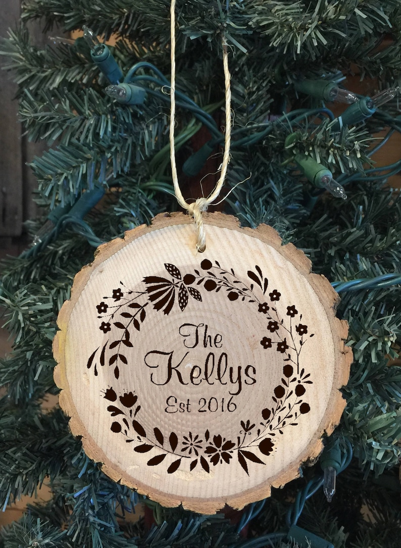Laser Engraved Wood Ornament Personalized with The Family Name image 0