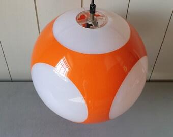 Vintage UFO Pendant Lamp Chandelier in Orange and White Plastic. Retro Space Age Design Mid Century 1960s 1970s Lighting. 60s 70s Home Decor
