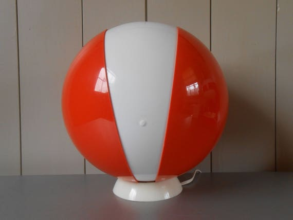 Space Age Design.Vintage 1970s Space Age Design Desk Or Table Lamp Orange And White Plastic Shade Globe Sphere 70s Mod Lighting Groovy Funky Home Decor