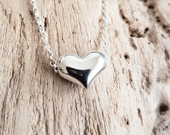 Sterling silver puffy heart necklace