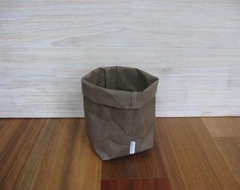 Sac de rangement de papier / support du sac de stockage du papier Kraft lavable foncé brun expresso couleur / plante cuisine maquillage