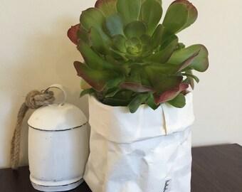 Lavable Kraft papier support sac blanc / stockage de plante, de cuisine ou de maquillage