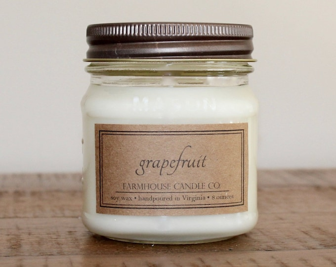 Grapefruit Soy Mason Jar Candle - 8 ounce