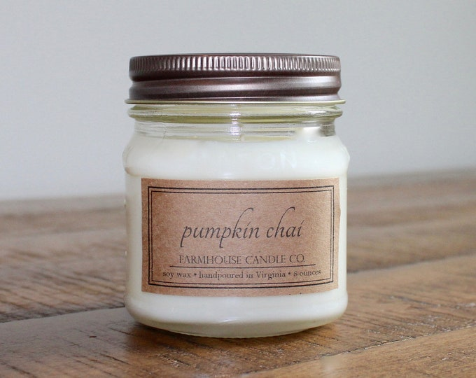 Pumpkin Chai Soy Mason Jar Candles - 8 ounce