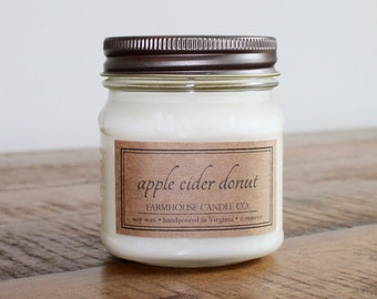 Apple Cider Donut Soy Mason Jar Candles - 8 ounce