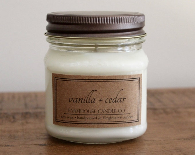 Vanilla + Cedar Soy Mason Jar Candle - 8 ounce