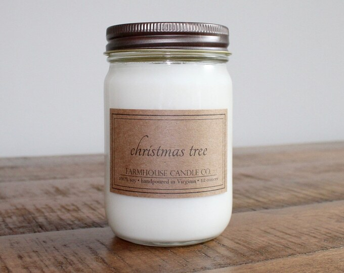 Christmas Tree Soy Mason Jar Candle - 12 ounce