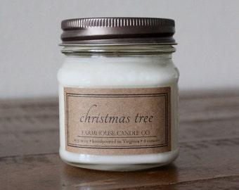 Christmas Tree Soy Mason Jar Candles - 8 ounce