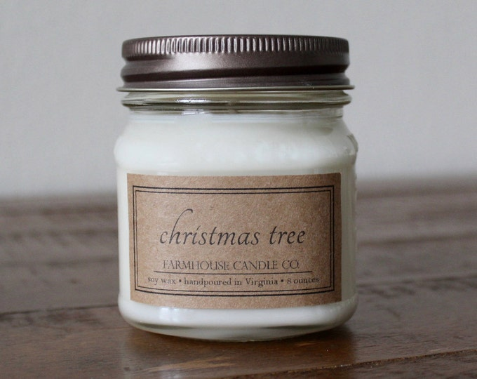 Christmas Tree Soy Mason Jar Candles - 8 ounce
