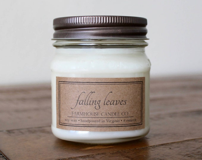 Falling Leaves Soy Mason Jar Candles - 8 ounce