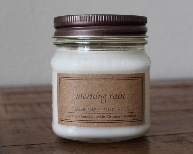 Morning Rain Soy Mason Jar Candle - 8 ounce