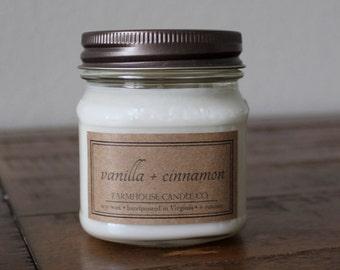 Vanilla + Cinnamon Soy Mason Jar Candles - 8 ounce