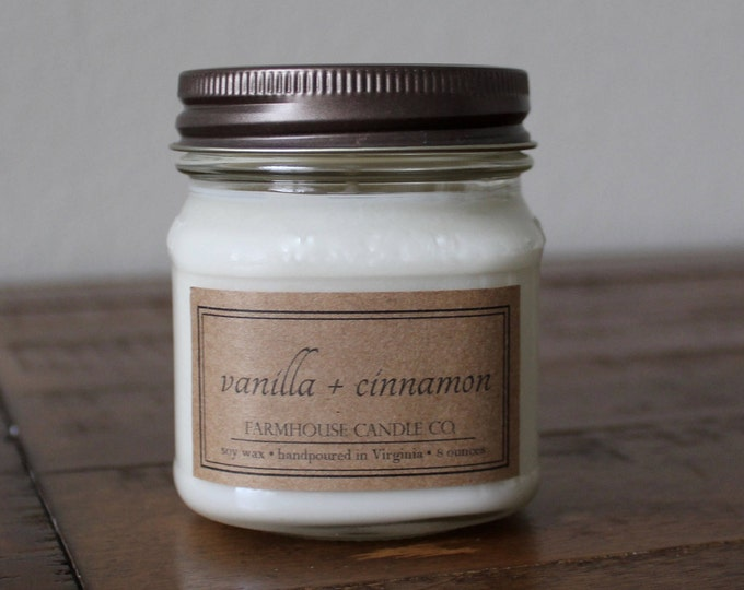 Vanilla + Cinnamon Soy Mason Jar Candles - 8 ounce