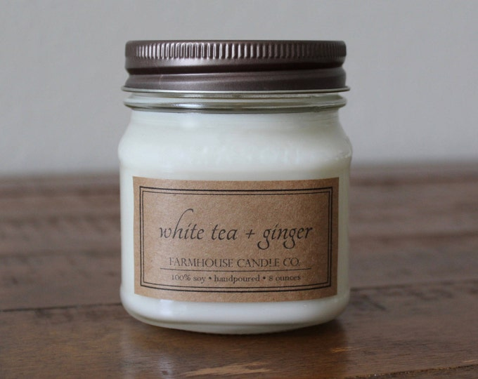 White Tea + Ginger Soy Mason Jar Candles - 8 ounce