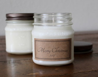 Custom Holiday Candle Gifts - 8 ounce Mason Jar Soy Candles