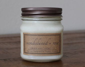 Sandalwood + Rose Soy Mason Jar Candle - 8 ounce
