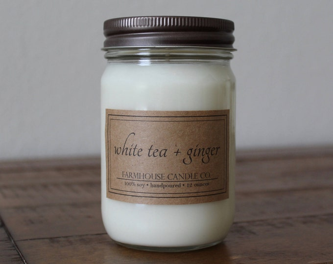 White Tea + Ginger Soy Mason Jar Candle - 12 ounce