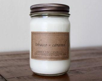 Tobacco + Caramel Soy Mason Jar Candle - 12 ounce
