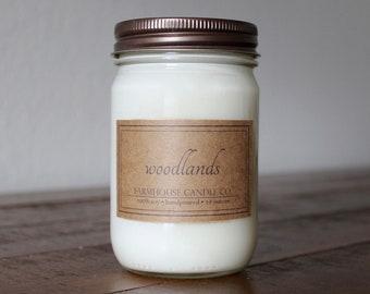 Woodlands Soy Mason Jar Candle - 12 ounce