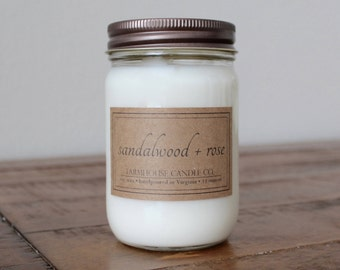 Sandalwood + Rose Soy Mason Jar Candle - 12 ounce