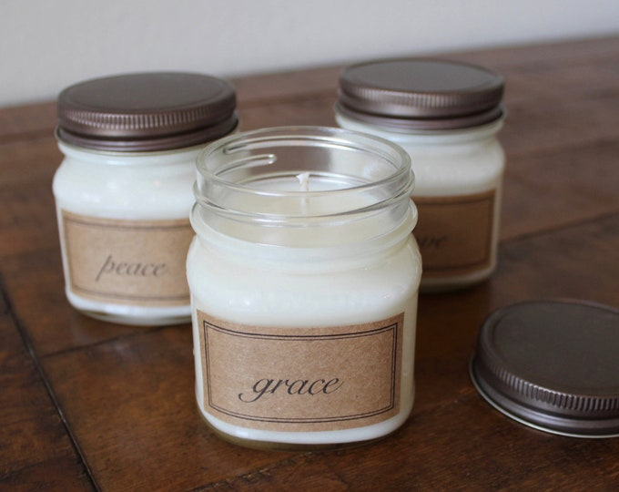 Grace, Peace, Love 8 Ounce Soy Candle Gift Set - Three Mason Jar Soy Candles - Candle Gift Set