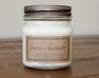 Lemon + Lavender Soy Mason Jar Candles - 8 ounce