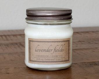Lavender Fields Soy Mason Jar Candles - 8 ounce