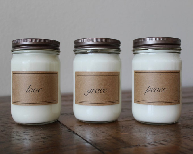 Grace, Peace, Love 12 Ounce Soy Candle Gift Set - Three Mason Jar Soy Candles - Candle Gift Set
