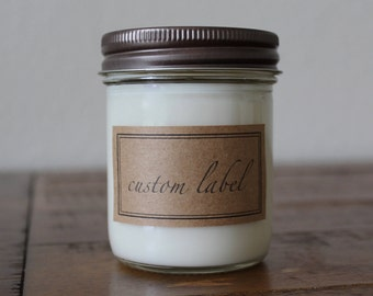 Custom Candle Favors - 8 ounce Mason Jar Soy Candles