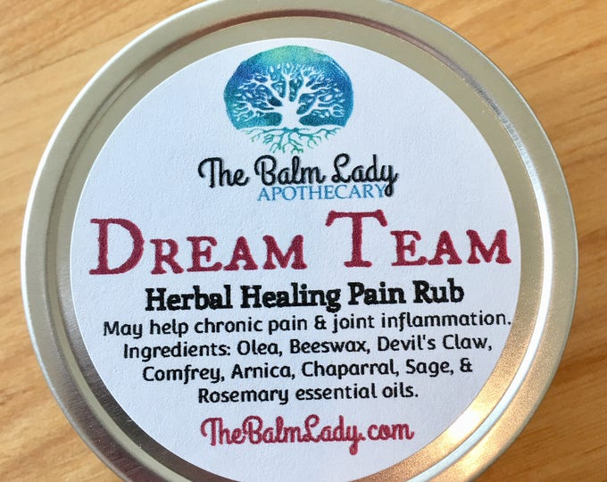 Dream Team Herbal Healing Pain Rub Extra Strength Formula For Back and Joint Pain Organic pain relief Arnica, Comfrey, Devil's Claw, Sage