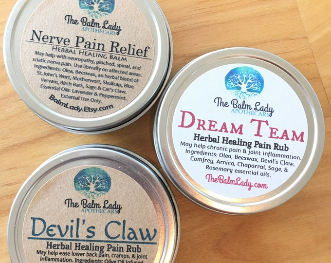 Pain Relieving Bundle Pack - Nerve Pain Relief, Devil's Claw, Dream Team Pain Rub | Herbal Pain Relief | Back Pain, Arthritis, Inflammation