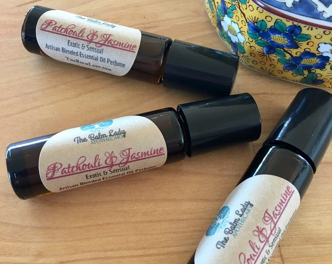 Patchouli and Jasmine Essential Oil Perfume. Exotic and Sensual, Exotic Patchouli, Sensual Jasmine Scent Roll On Cologne 10 ml, Gift for her