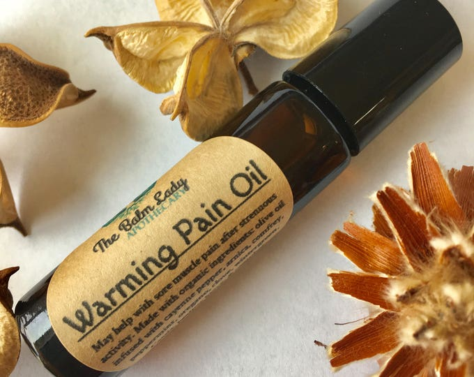 Warming Pain Oil | Cayenne, Arnica, Comfrey, Clove, Peppermint, Camphor | Roller Ball | All natural Pain Relief | Muscle Joint Pain Relief