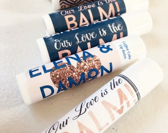 Teal Blue Bride Tribe Wedding Lip Balm Our Love is the Balm Turquoise Blues Personalized Party Favor Happily Ever After